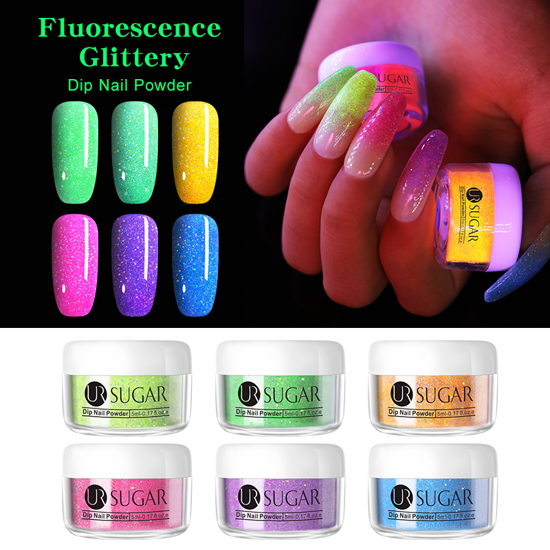 UR SUGAR 5ml Fluorescence Glitter Dip Nail Powder Holographic Gradient French Pigment Dipping Art Decoration