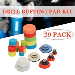 Image 1 - Ensemble de 29 pièces, 1/2/3 pouce pour perceuse, tampon de polissage, Kit de mélange de tailles + adaptateur de coussin de support M14, outils électriques, tampons de polissage