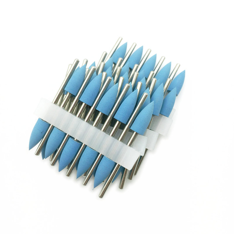 50pcs 2.35mm Shank Rubber Silicone Polisher Grinding Sharp Head For Teeth Whitening Polishing Remove Stain Tool