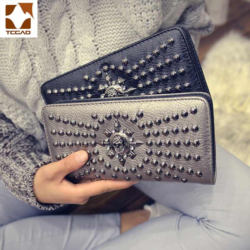 Vrouwen Portemonnee Patchwork Klinknagel Lederen Portemonnee Vrouwen Clutch Purse Jack Skellington Skull Heads Clutch Bag Billeteras Para Mujer