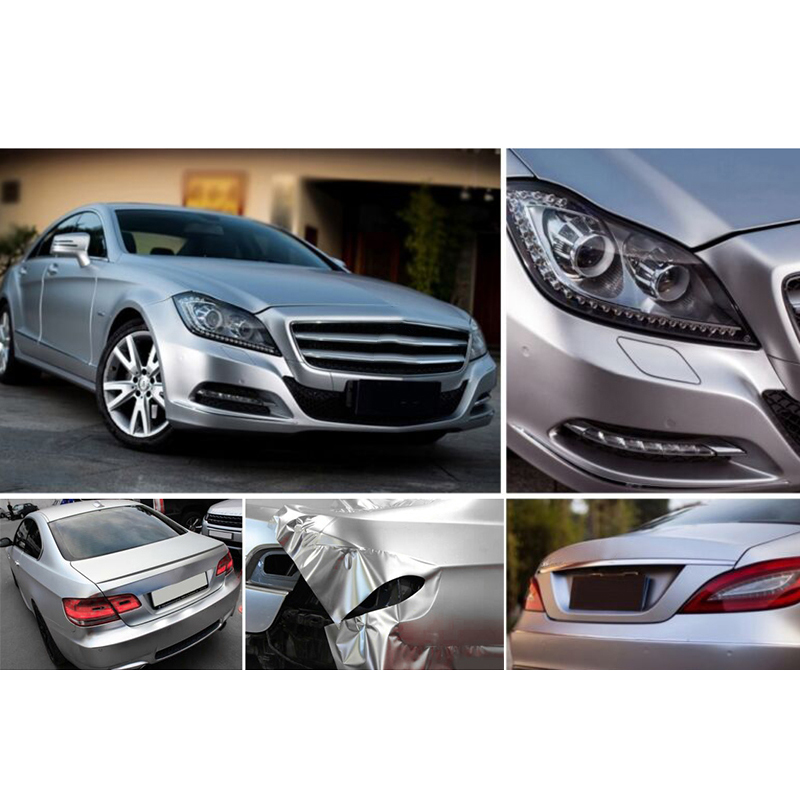 Image 3 - car accessory 30*150CM Satin Matte Chrome Metallic Silver Vinyl Film Wrap Sticker Bubble Free-in Car Stickers from Automobiles & Motorcycles