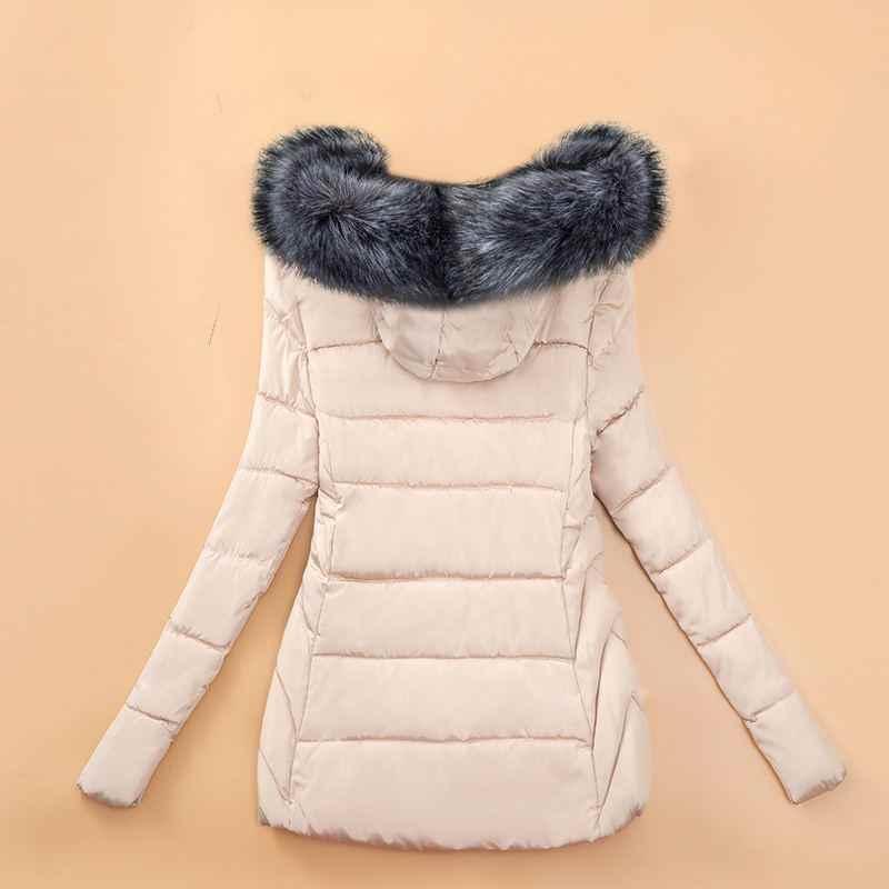 Plus größe 5XL 2020 Neue Winter Jacke Frauen mode Große Pelz Kragen Warme Mit Kapuze Oberbekleidung Weibliche Jacke kurze Mantel casaco feminino