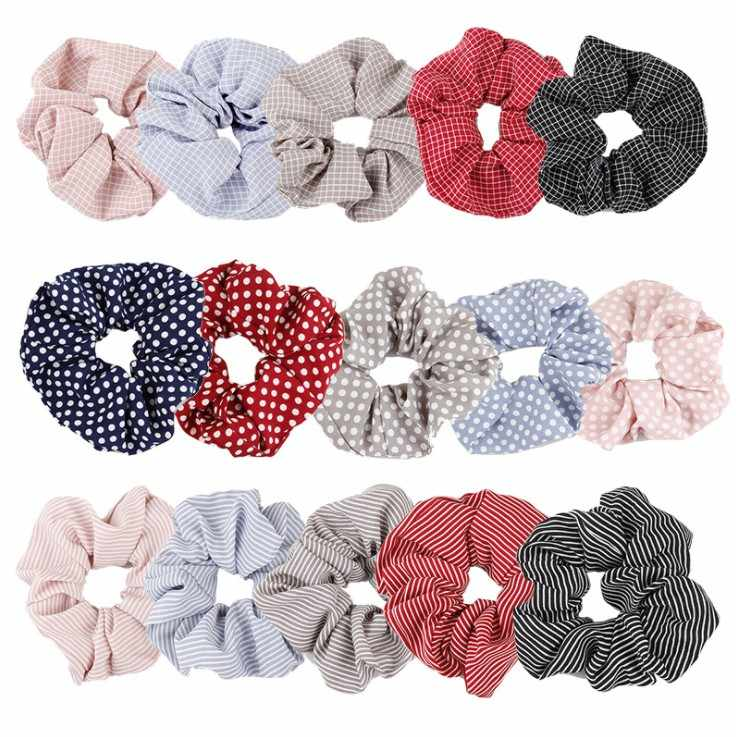 Fashion Dot Plaid Scrunchie Elastic Headband Striped Scrunchies For Women Girls Hair Ties Ponytail Stretch Hair Accessories