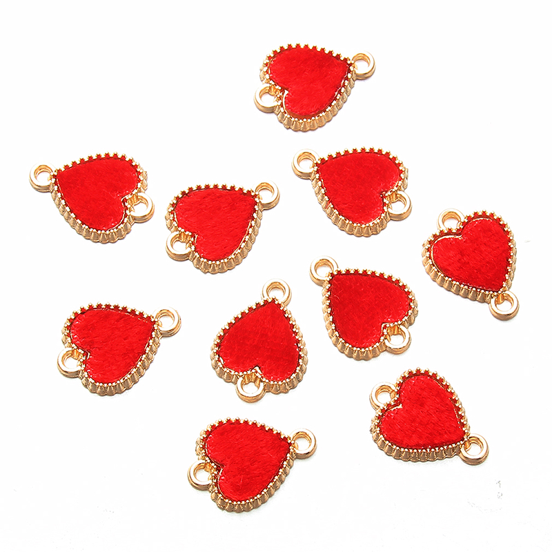 10 Pcs Golden Red Alloy Flannel Heart Love Connectors For Making Necklace Bracelets Gift Fashion Crystal Jewelry Findings