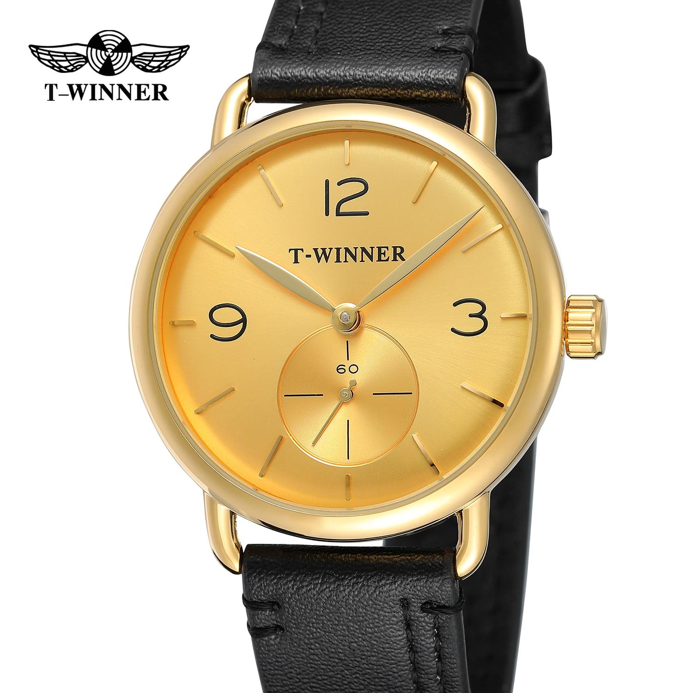 ouro dial e caso pulseira de couro