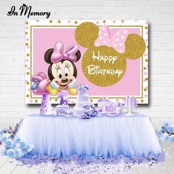 Inmemory Pink Gold Glitter Cute Minnie Backdrops For Girls Newborn Baby Shower 1st Birthday Party Photography Backgrounds Custom Buy At The Price Of 5 59 In Aliexpress Com Imall Com
