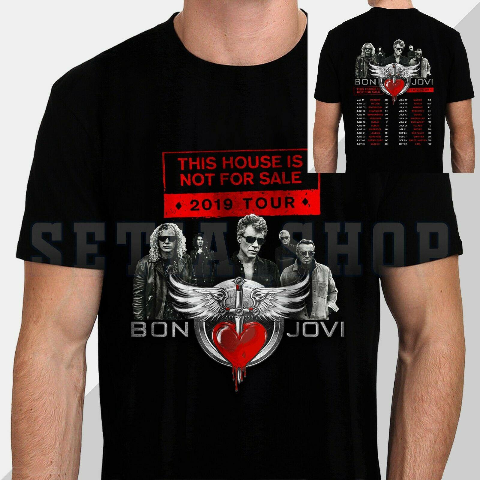 Bon Jovi Slippery When Wet 86-87 Tour Dates 2 Sided Adult T Shirt Rock Music