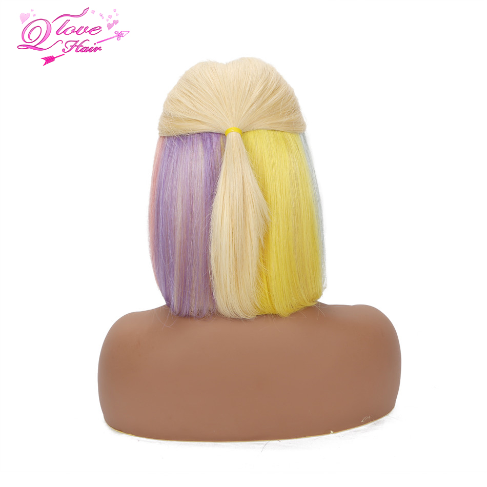 Rainbow Bob Wig Blonde Lace Front Wig Human Hair Brazilian Transparent Lace Wigs Colored Human Hair Wigs Short Wig 150% Density