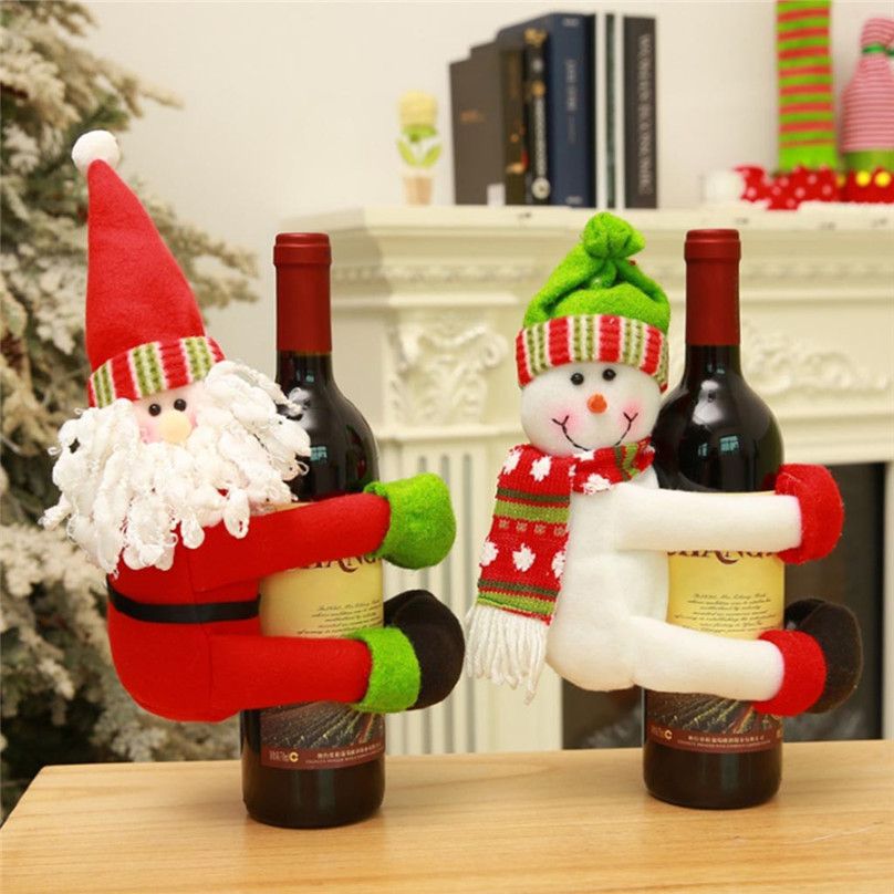 US $3.1 41% OFF|Christmas decorations for home kitchen accessories Wine  Bottle Cover Santa Doll Family Dinner Decor ornaments gift #4o22#f on ...