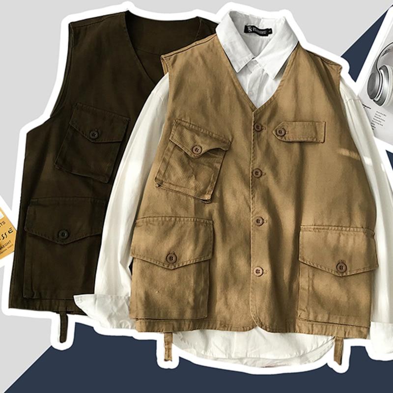 Cotton Vest Men's Fashion Solid Color Retro Casual V-neck Vest Jacket Men Streetwear Wild Loose Gilet Coat Mens Large Size M-5XL