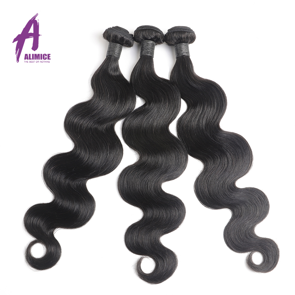 Image 3 - Alimice Indian Body Wave Human Hair Bundles With Frontal 13*4 Indian Hair Weave 3 Bundles With Frontal Preplucked Remy Hair-in 3/4 Bundles with Closure from Hair Extensions & Wigs