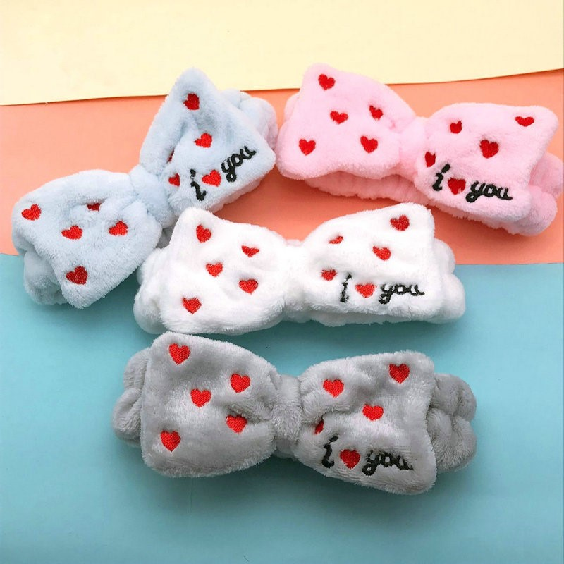New Letter Headbands Coral Fleece Bow Butterfly Heart Hairbands Wash Face Floral Headwear Hair Bands For Women Hair Accessories