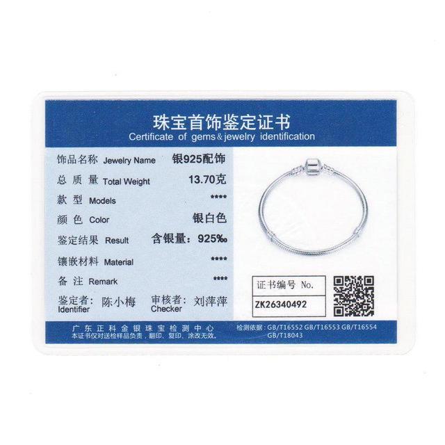 BAMOER Authentic 100% 925 Sterling Silver Snake Chain Bangle & Bracelet 17-20CM