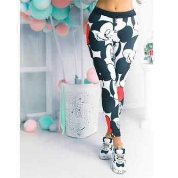 Cartoon Mickey Printed Leggings Women Stretchy Fitness Sweatpants Gym Pants Female Sexy High Waist Push Up Leggings Plus Size printed stretchy gym leggings