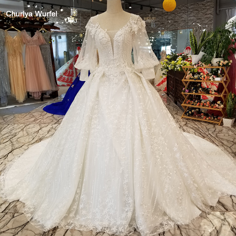 LS12800 Lantern Sleeve Wholesale Beauty Wedding Gown O-neck Keyhole Back Bridal Wedding Dress 2018 Made In China With Long Train