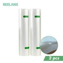 Reelanx真空バッグ2ロール食品包装用真空包装機15/20 / 25/28*500センチメートル2セット真空シーラーバッグ