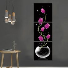 3 panels Vertical Version Wall Painting Print Vase with Rose Red Tulip Flowers Elegant Canvas Porch Corridor Home Decor