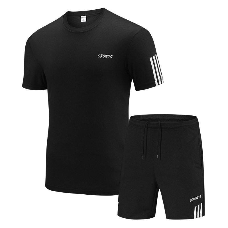 Summer New Style Men Breathable Lettered Leisure Sports Suit Short Sleeve 5 Pants Large Size Set Men's