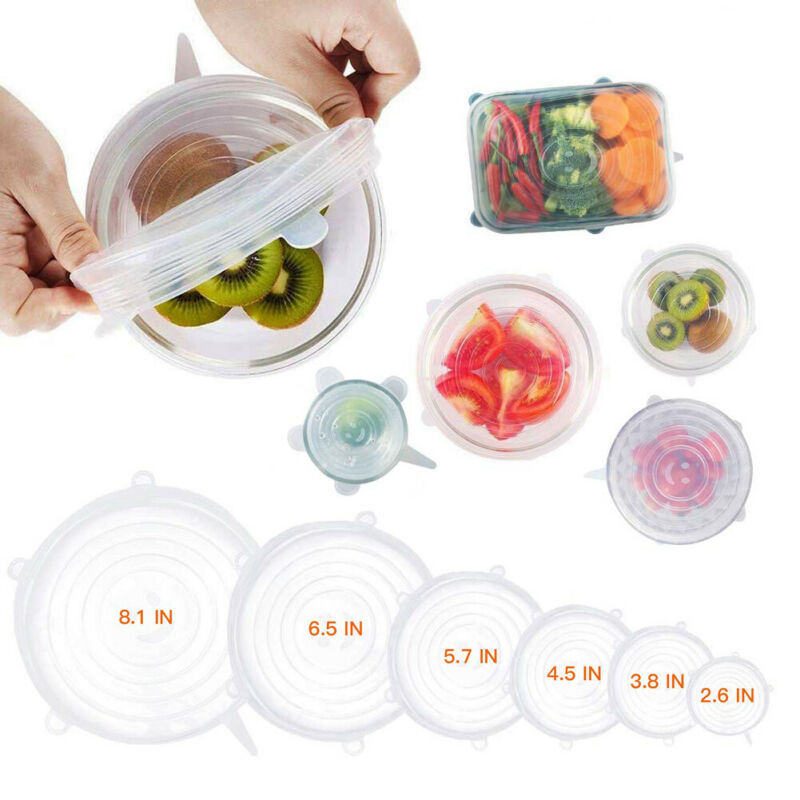 6X Reusable Silicone Stretch Lids Food and Bowl Covers of Containers Dishes Bowl