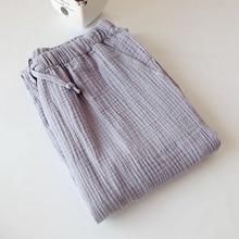 Nightwear Sleepwear Pajamas Gauze-Pants Buttoms Cotton Summer Spring Bathrobe Couple