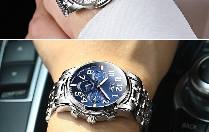H223dde081fb7496b9bf9904b06607531P AESOP Luminous Automatic Mechanical Watch Men Luxury Brand Business Waterproof Stainless Steel Male Clock Relogio Masculino 2019