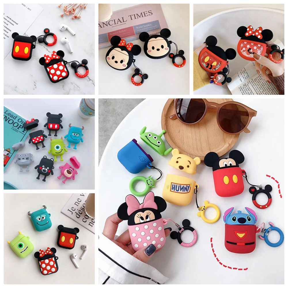 Cartoon Mickey Wireless Bluetooth Earphone Case For Apple AirPods Silicone Charging Headphones Case For Airpods Protective Cover