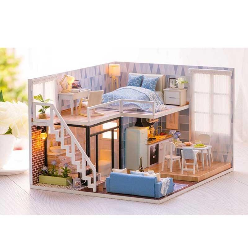 ¡Novedad! Casa de muñecas en miniatura de madera con muebles DIY, Fidget Toys para niños, regalo de cumpleaños, Blue Times - 4