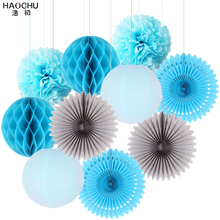 10pcs Pink Paper Decoration Set Paper Fans Circle Honeycomb Ball Lantern Flower PomPom Kids Birthday Party Wedding Shower Decor