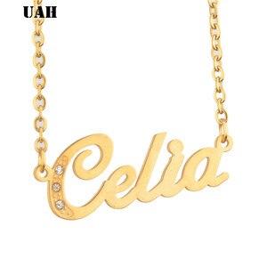 UAH Celia имя или романтическая Подвеска Ожерелье на заказ персонализированные имя чокер золотой цвет почерк Подпись заказной ожерелье
