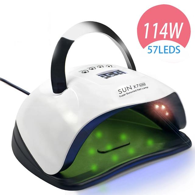 114W 57 PCS LED Nail Lamp Nail Dryer Dual hand LED UV Lamp For Curing UV Gel Nail Polish With Motion Sensing Manicure Salon Tool