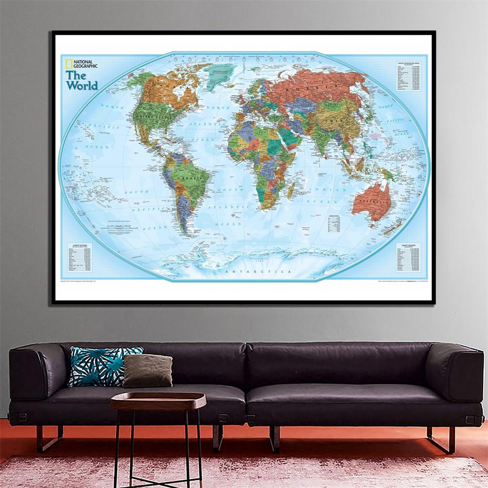 60x90cm The World Physical Map National Geographic HD Wall Spray Canvas 2011 Edition World Map For Home Wall Decor