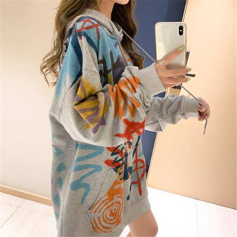 Harajuku Oversized Hoodie Sweatshirt Women Autumn Doodling Print Hoodies Long Sleeve Pullover Loose Cute Hoodie Funny Females