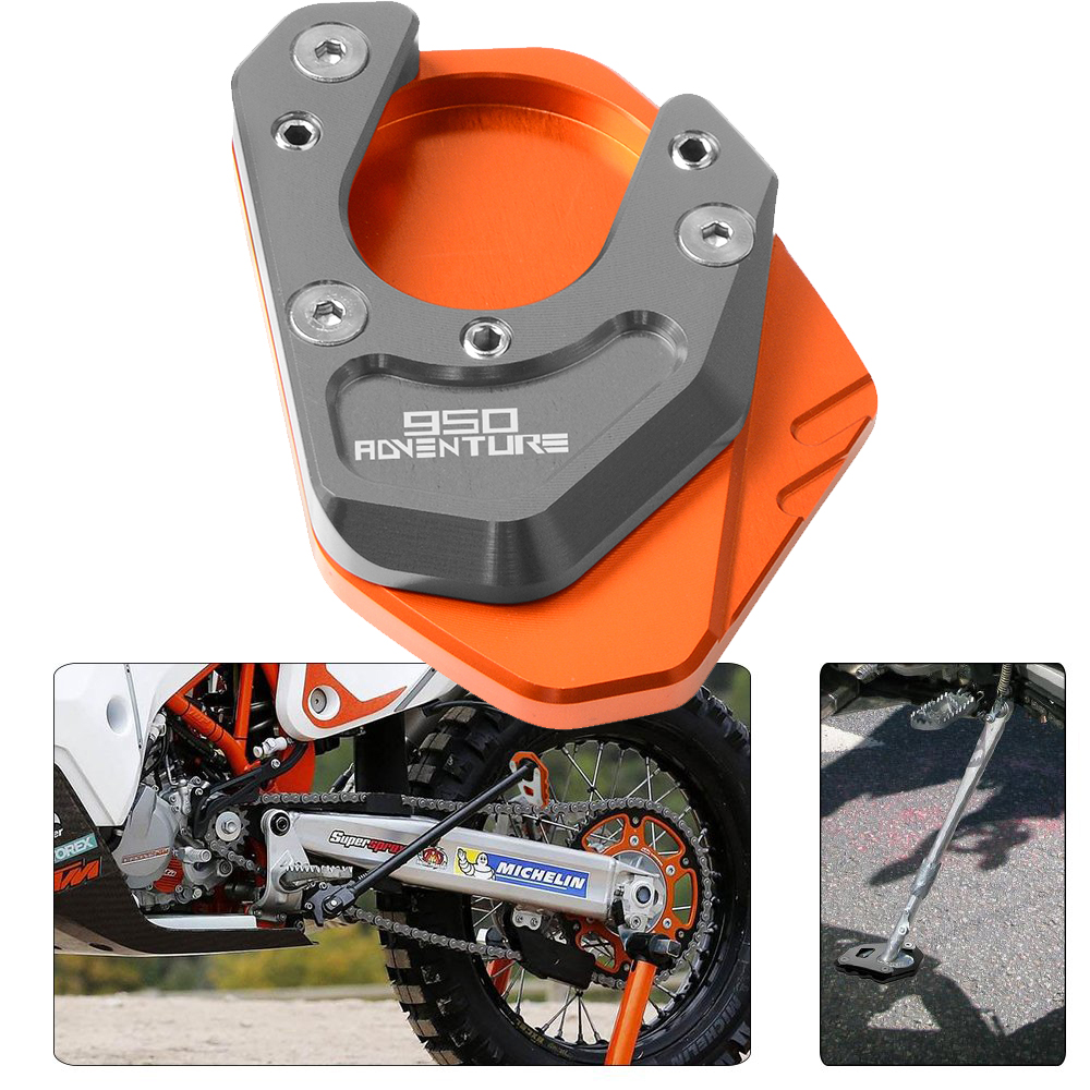 CNC Aluminum Motorcycle Side Stand Pad Enlargement Plate Kickstand Extension For KTM <font><b>950</b></font> Adventure 2003 2004 2005 2006 image