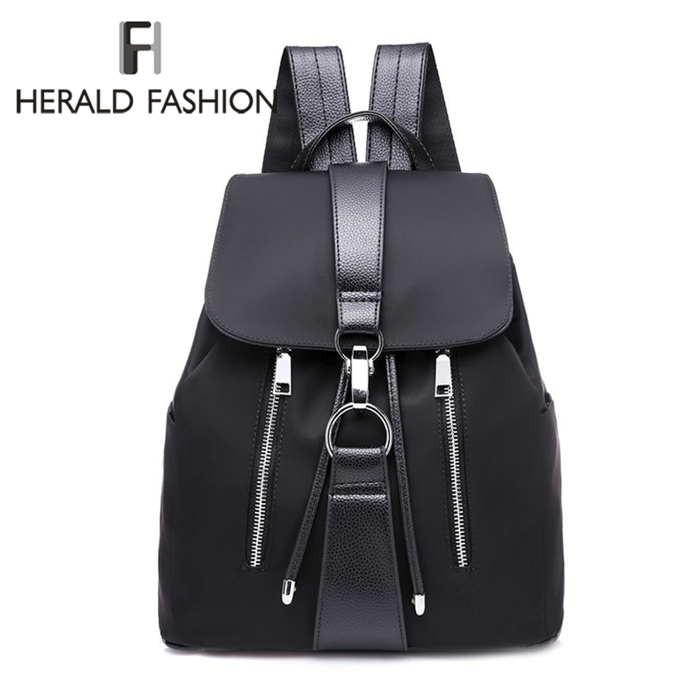 New 2020 Nylon Women Backpack Female Fashion Travel Waterproof Patchwork Leather Bag Black School Backpacks Teenager For Girls