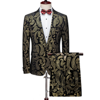 MOGU fashion groom wedding dress Two Pieces Men's suits one buttons fantastic printed large size 5XL male casual Cotton suit