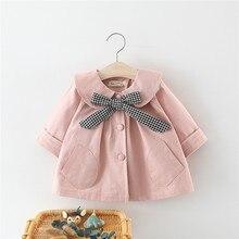 아기 코트 신생아 아기 소녀 의류 가을 겨울 격자 무늬 보우 코트 유아 의류 어린이를위한 Outwear Baby Girls Clothing