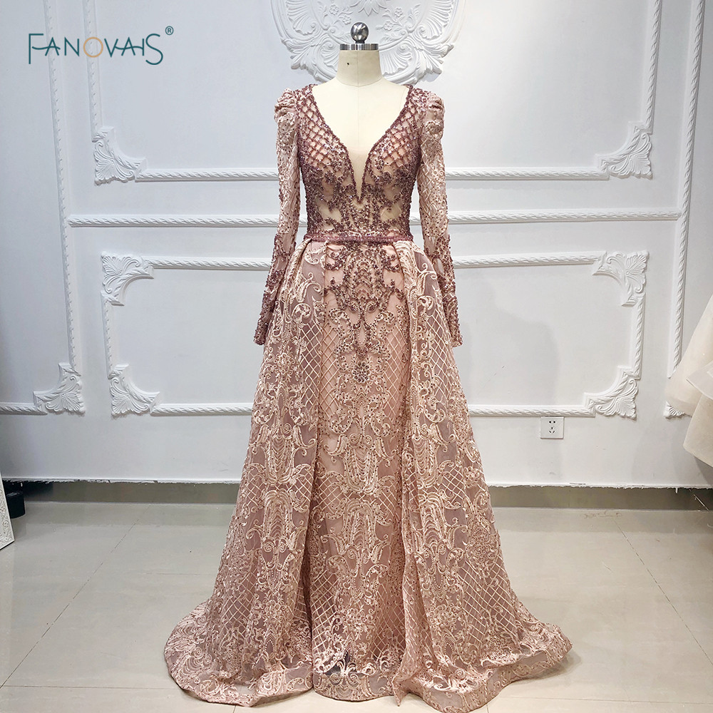Luxury Dubai Evening Dresses Long Sleeves V Neck Sheer Top Beaded Prom Dress 2019 Crystal Evening Gown Lace Vestido De Fiesta