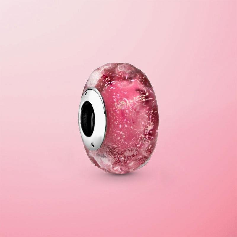 Real 925 Sterling Silver Wavy Fancy Pink Murano Glass Beads Charm Fit Original Pandora Bracelet Bangle Jewelry Gift