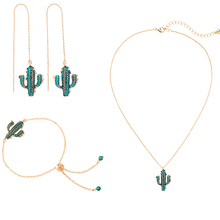 Cactus Green Crystal Drop Earrings Gold Color Pendants Necklace  For Women Gift Dating Fashion Jewelry Sets Accessories