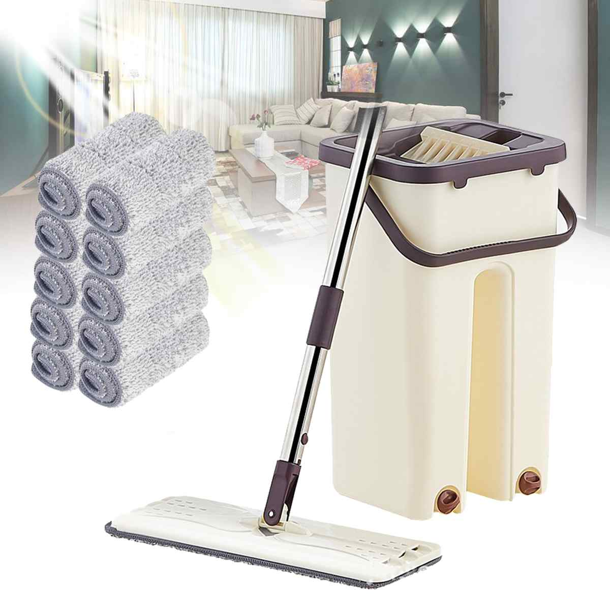 Flat Squeeze Mop with Bucket Hand Free Wringing Wet Dry Usage Spray House Floor Cleaning Lazy Mops Reusable Microfiber Pads