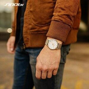 Image 5 - Часы наручные Sinobi Мужские кварцевые, модные золотистые полностью золотистые, оптовая продажа