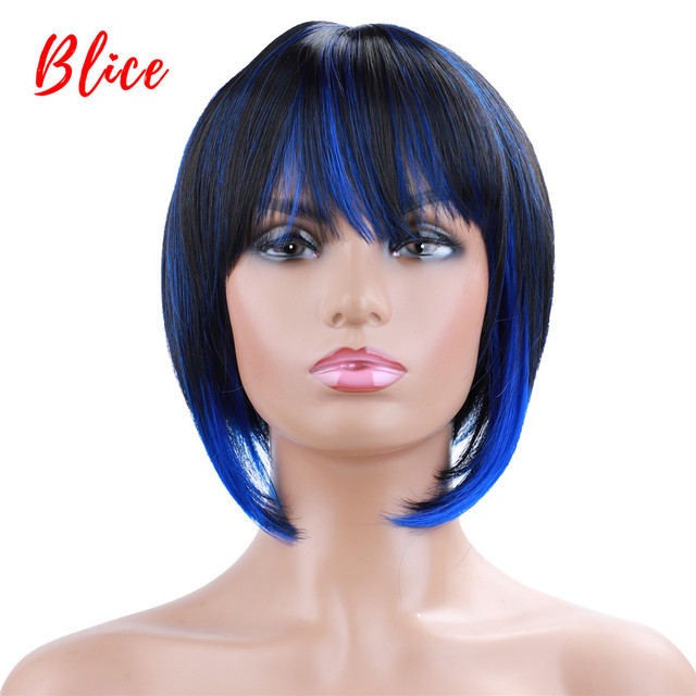 Blice 10 Inch Short Straight Synthetic Wigs  Natural Mixed Color Wig FT1B /Blue  Free-Side Bang For African American Women Wig