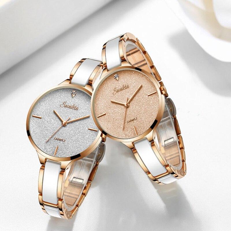 SUNKTA Watch Women Watches Ladies 2020 Creative Women's Ceramic Bracelet Watches Female Clock Relogio Feminino Montre Femme