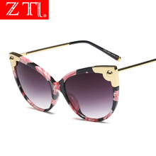 ZT Oversized Retro Cat Eye Sunglasses Women UV400 Luxury Vintage Beach Sun Shade
