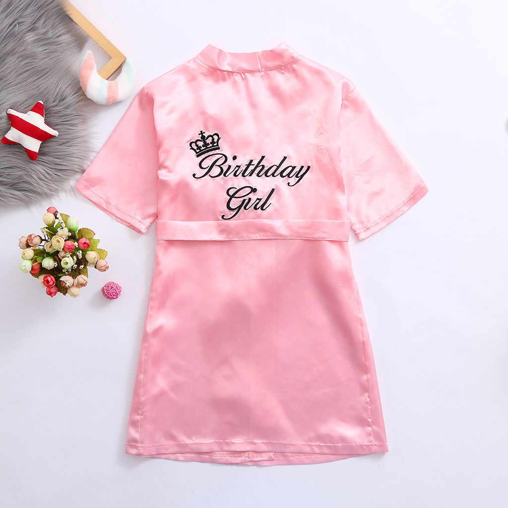 Nowe dzieci szaty satynowe dzieci lato Kimono szlafrok kąpielowy druhna urodziny dziewczyna sukienka jedwabne dzieci dziewczyny szlafrok koszula nocna szata