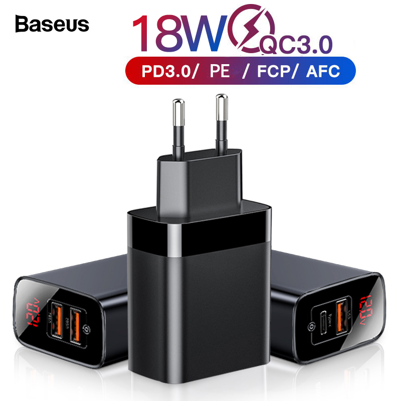 Baseus Digital Display Quick Charge 3 0 USB Charger 18W PD 3 0 Fast Charger for