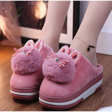 Warm Shoe Slippers Fluffy Furry Plush Rabbit-Ears Women Winter Casual Woman Ladies Indoor