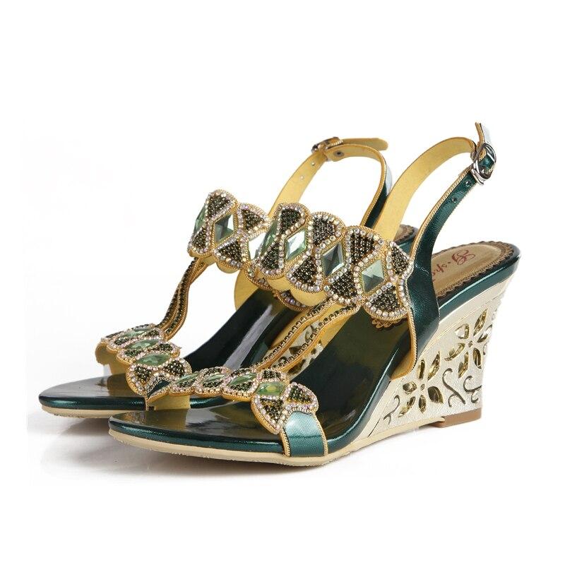 Christia Bella robe formelle talons hauts sandales talons compensés boucle strass chaussures bout ouvert fête chaussures de mode pour dames - 5