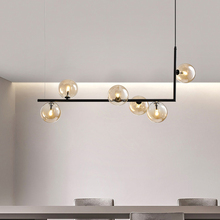 Modern Glass Ball Chandelier Nordic Dinning Room Long Table Hanging Light Creative Decor Suspension Light Fixture For Bar/Shop