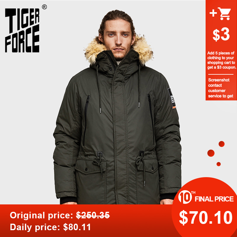TIGER FORCE Men Parka Hooded Winter Jacket For Men Artificial Fur Collar Warm Coat Adjustable Waist Thicken Coats Men Snowjacket